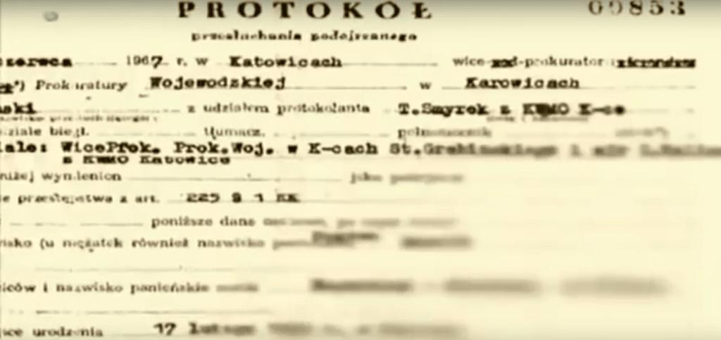 Fragment protokołu z przesłuchania (Screenshot - Discovery/YouTube)