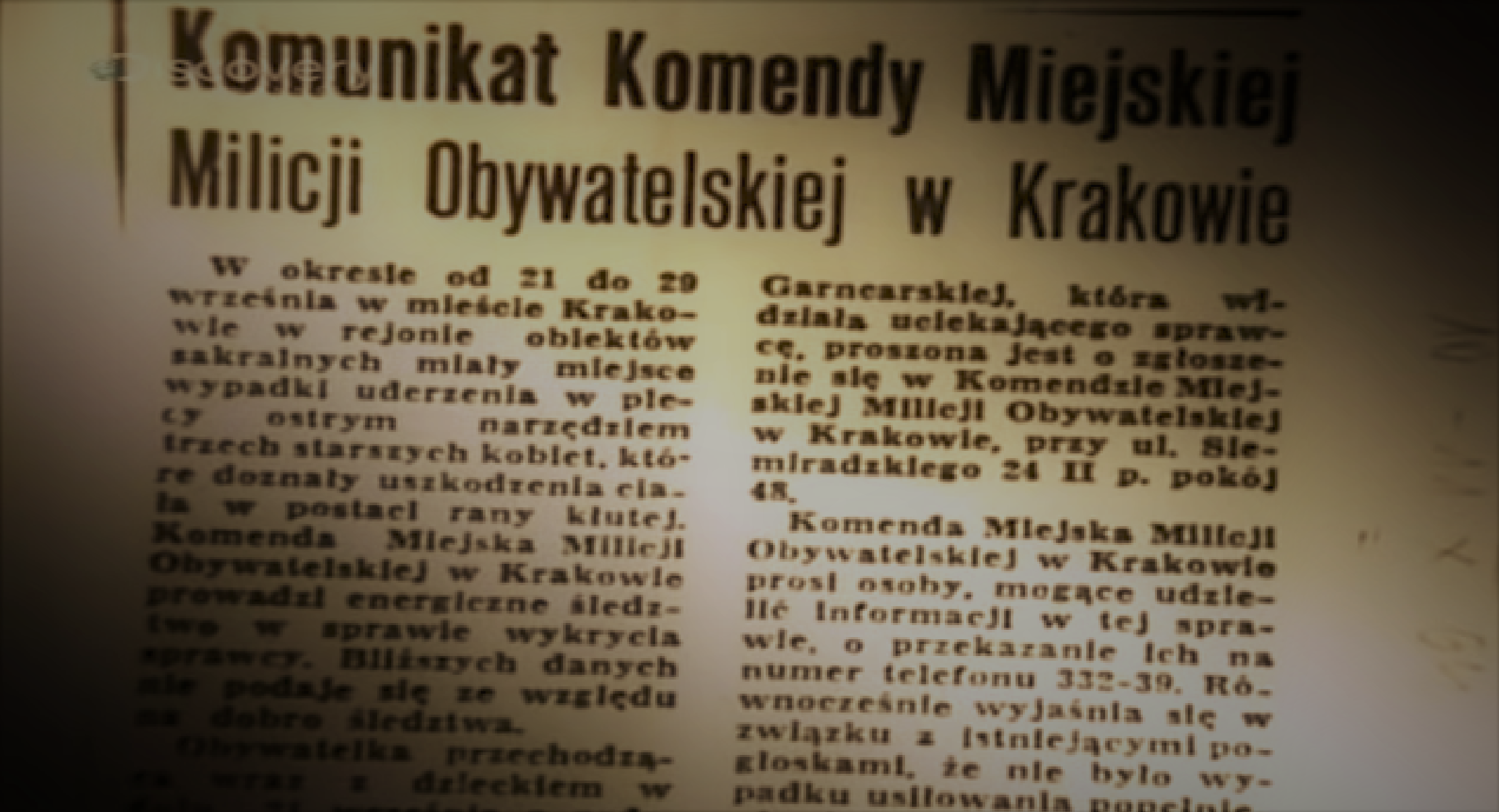 Komunikat Komendy Milicji Obywatelskiej (screenshot - Discovery/YouTube)