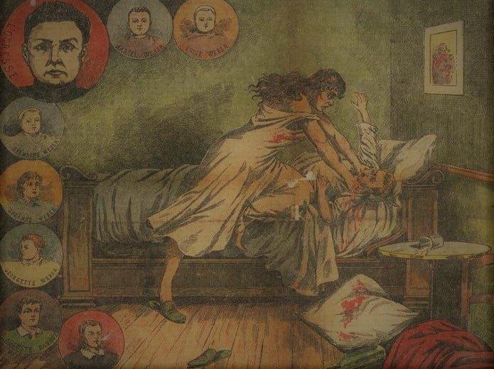 Wizualizacja jednego z morderstw Jeanne Weber - wycinek z prasy