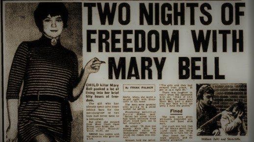 Mary Bell - wycinek z gazety o jej ucieczce z więzienia