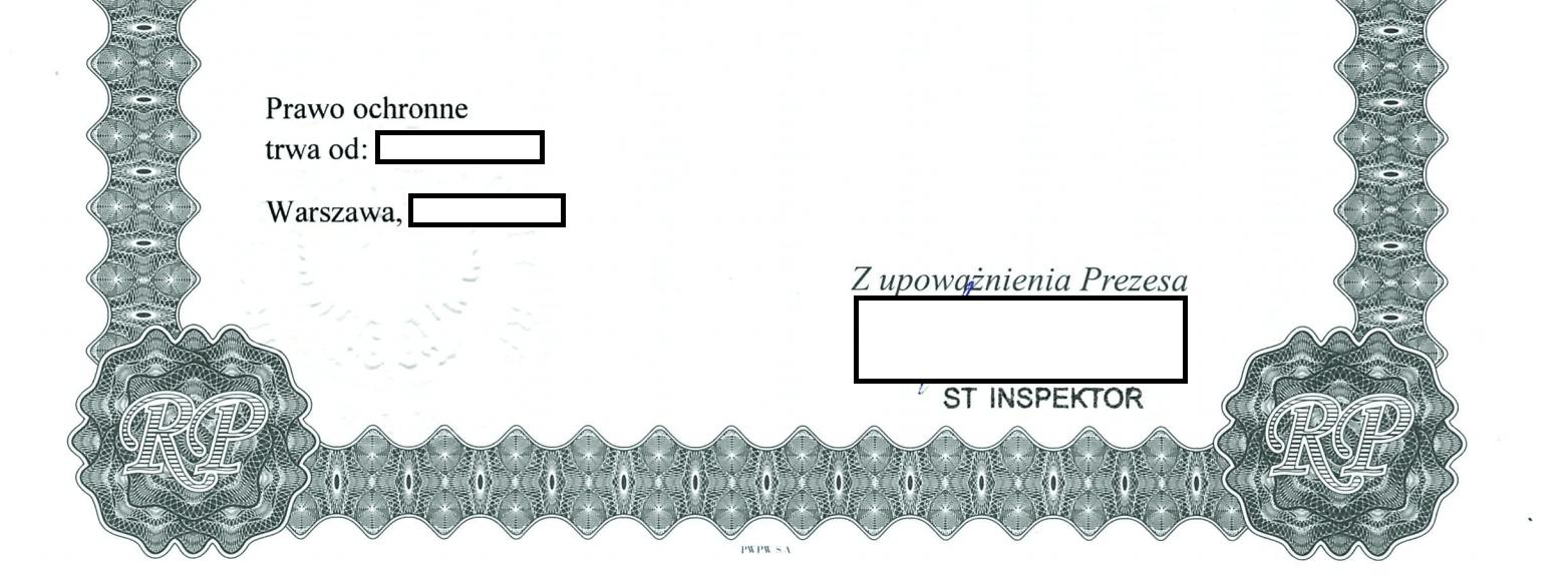Świadectwo ochronne - data rejestracji i podpis osoby upoważnionej