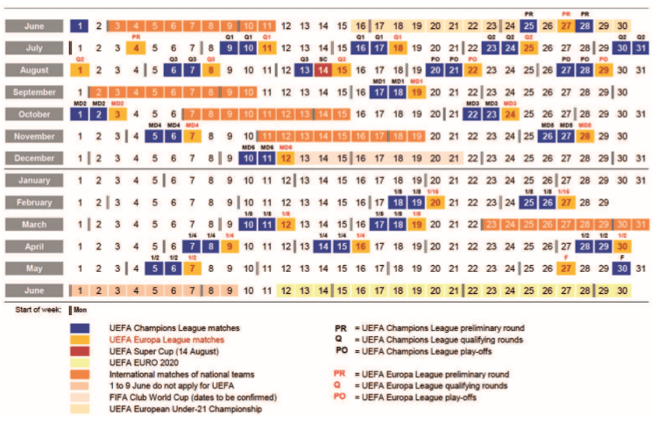 UEFA Match Calendar