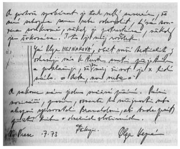 Fragment listu Olgi Hepnarovej