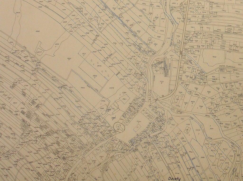 Przekształcenie działki rolnej - mapa katastralna Bukowska, rok 1906 Galicja