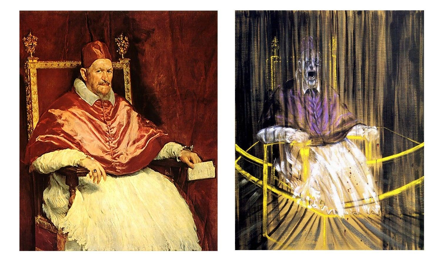 Czym jest utwór inspirowany? (na zdjęciu: Innocenty X - Diego Velazwues (po lewej) i Krzyczący Papież - Francis Bacon (po prawej)